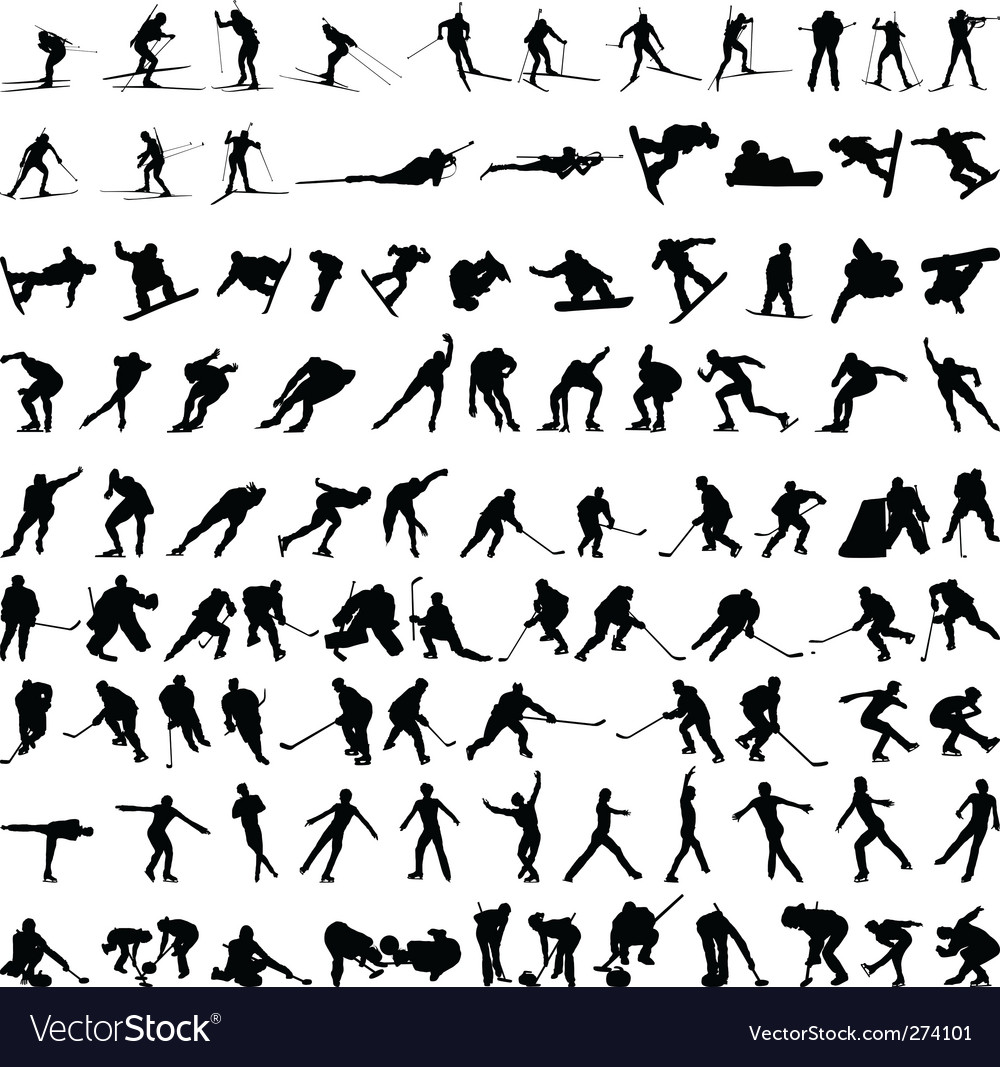 Set of winter sport silhouettes vector | Price: 1 Credit (USD $1)
