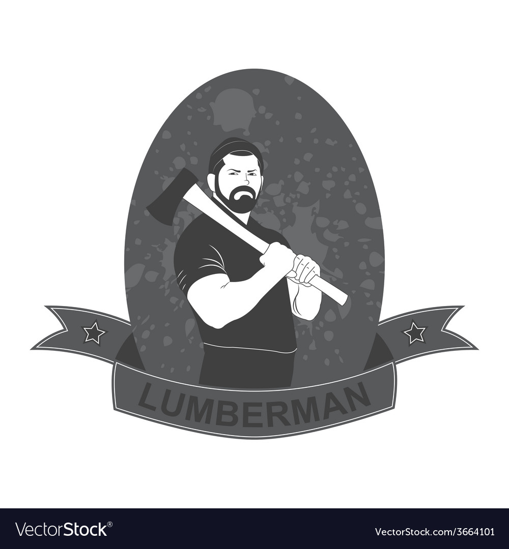 Stylish logo lumberjack with an ax vector | Price: 1 Credit (USD $1)