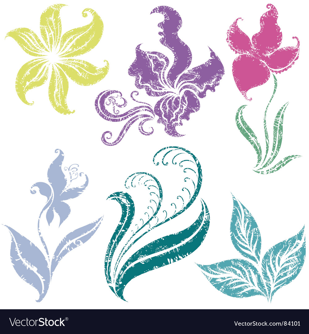 Two beautiful vintage ornate lillies vector | Price: 1 Credit (USD $1)