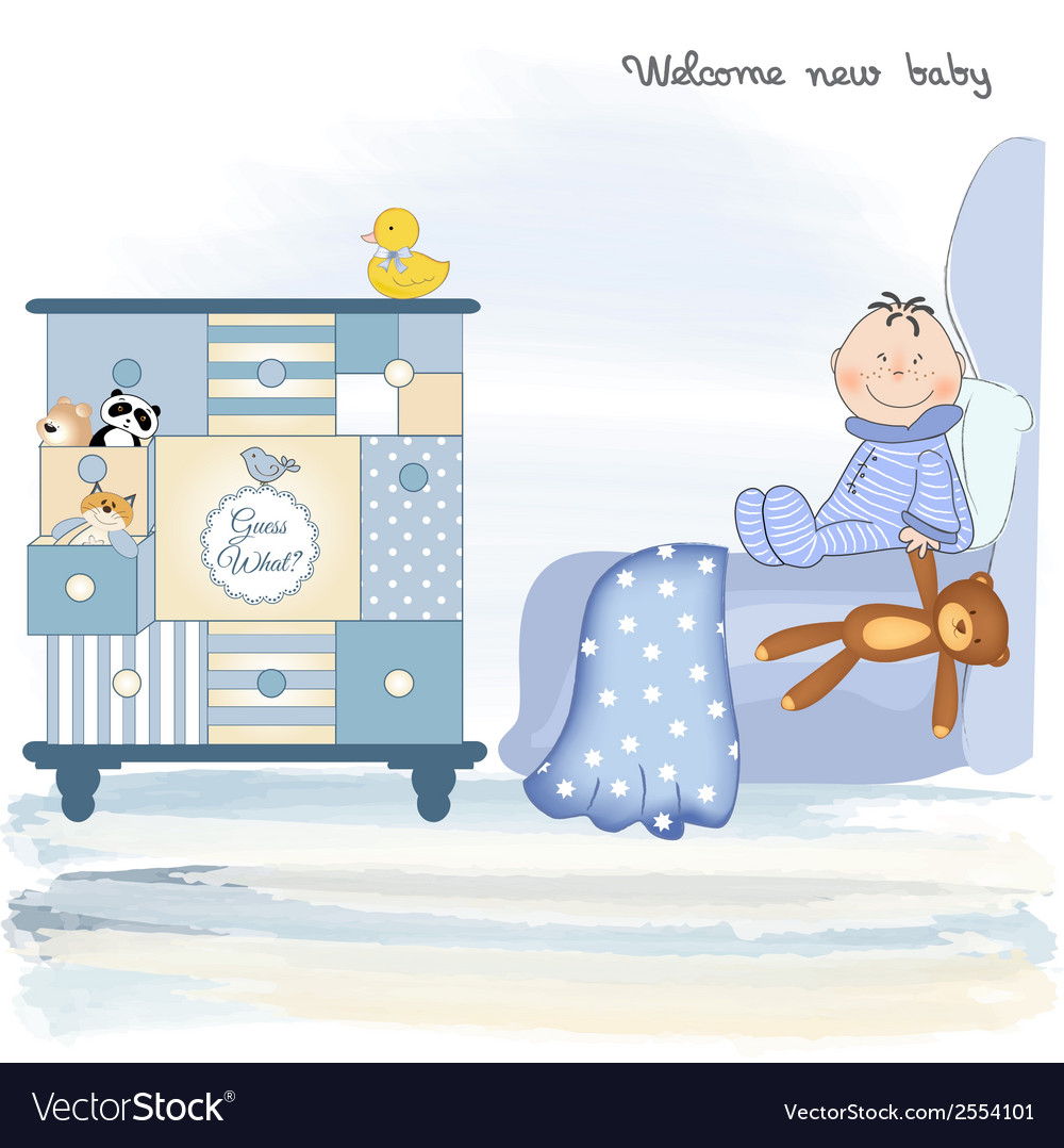 Welcome new baby boy vector | Price: 1 Credit (USD $1)