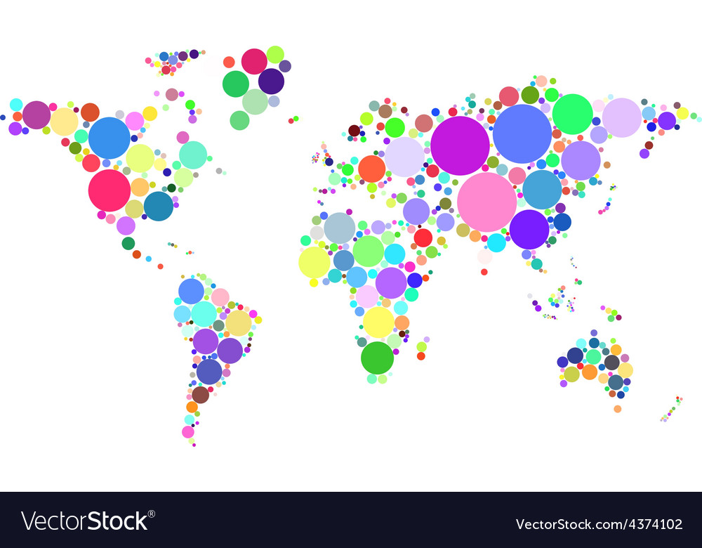 Abstract worldmap colorful dots isolated on white vector | Price: 1 Credit (USD $1)