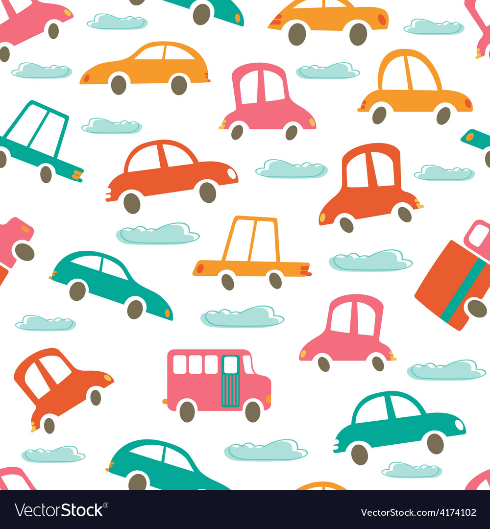 Colorful seamless pattern with cute cars and vector | Price: 1 Credit (USD $1)