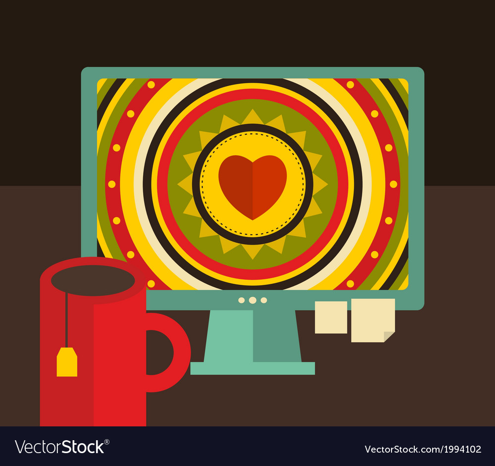 Computer screen i retro colors vector | Price: 1 Credit (USD $1)