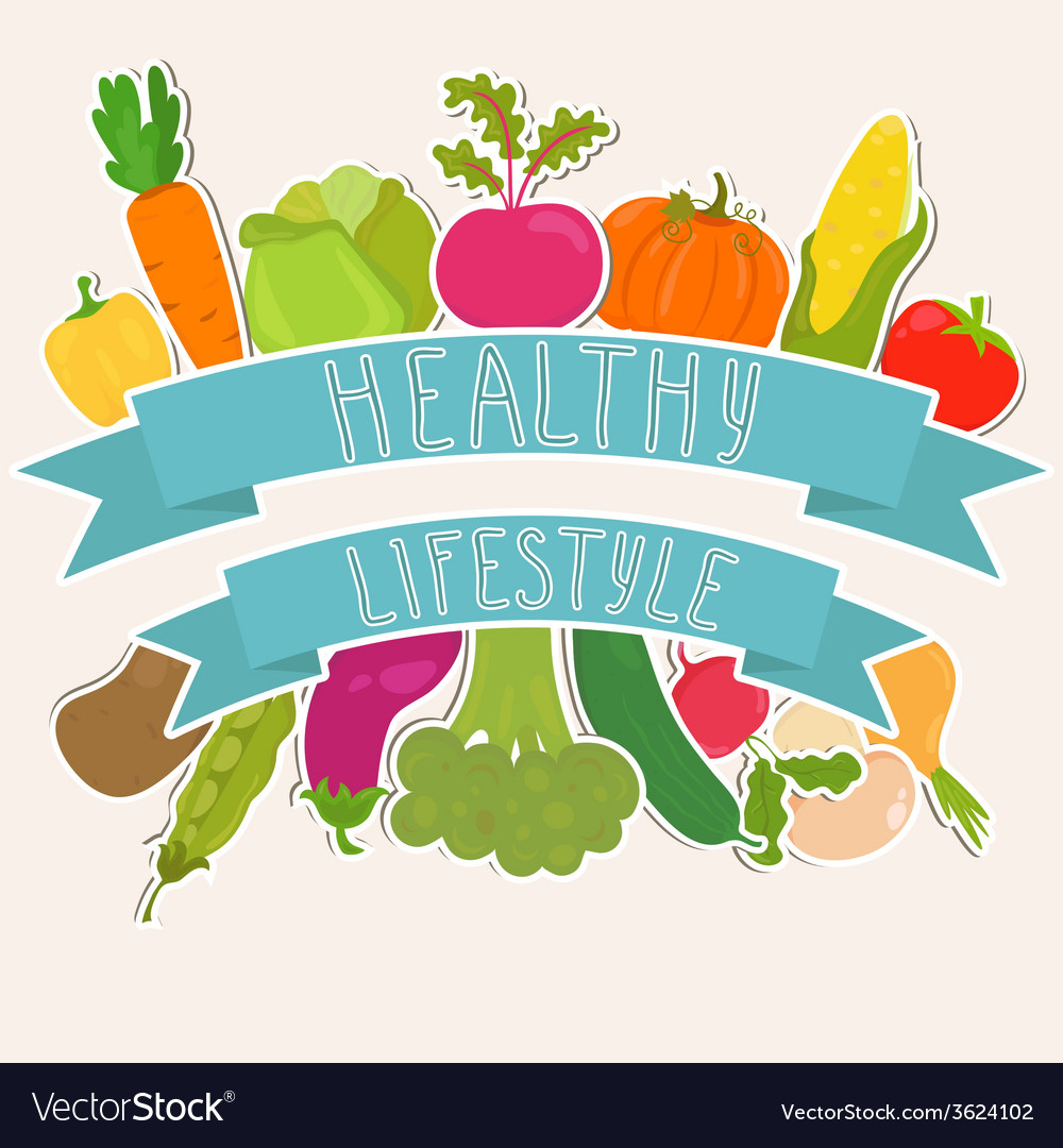 Farm fresh vegetables healthy lifestyle vector | Price: 1 Credit (USD $1)