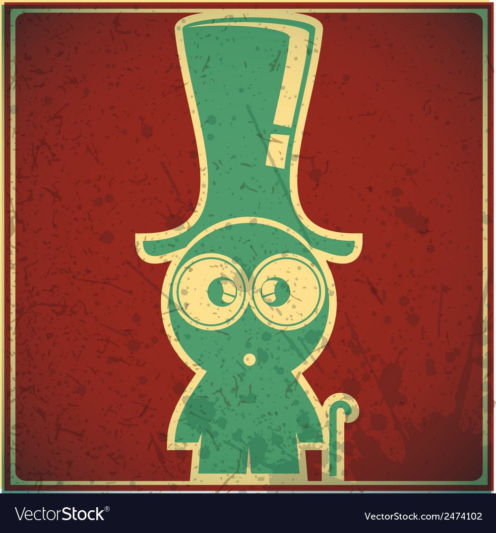 Funny character in hat on grunge background vector | Price: 1 Credit (USD $1)