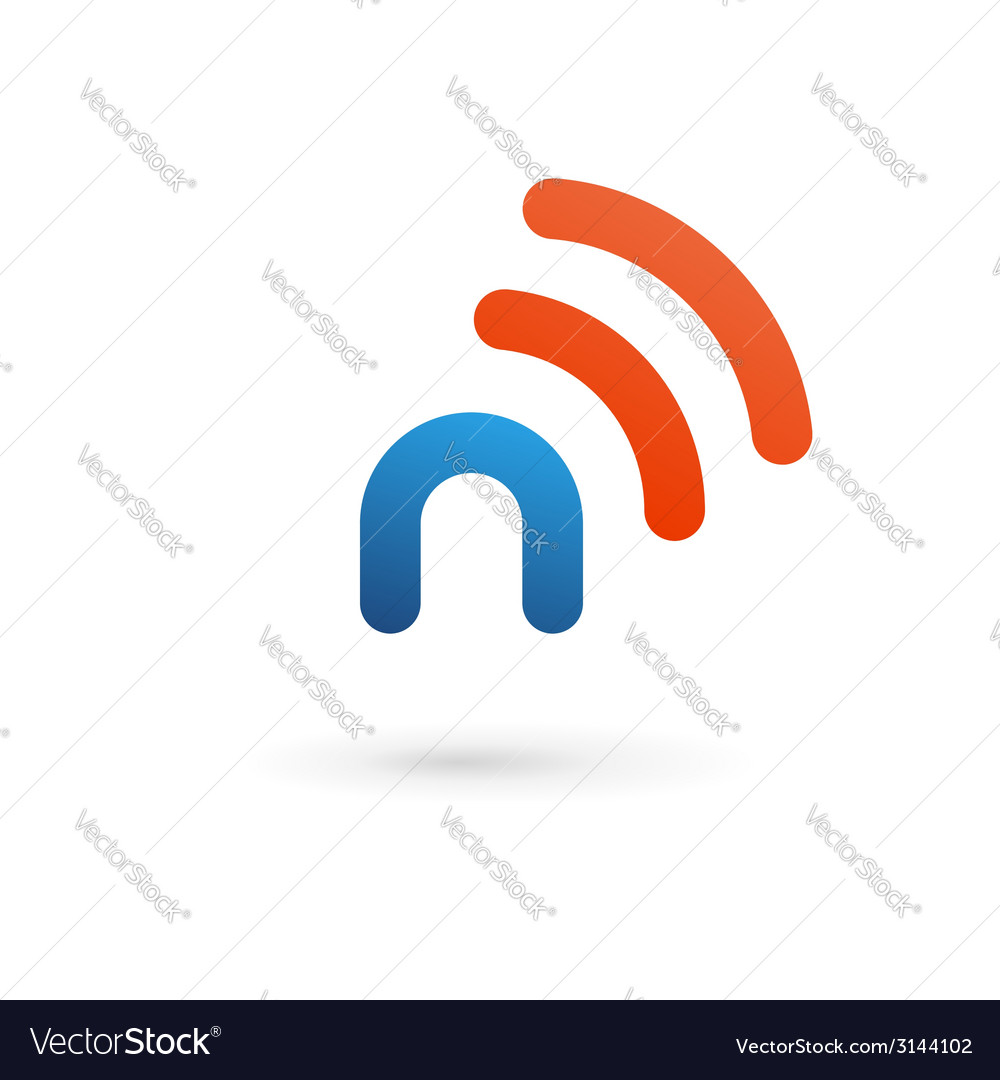 Letter n wireless logo icon design template vector | Price: 1 Credit (USD $1)