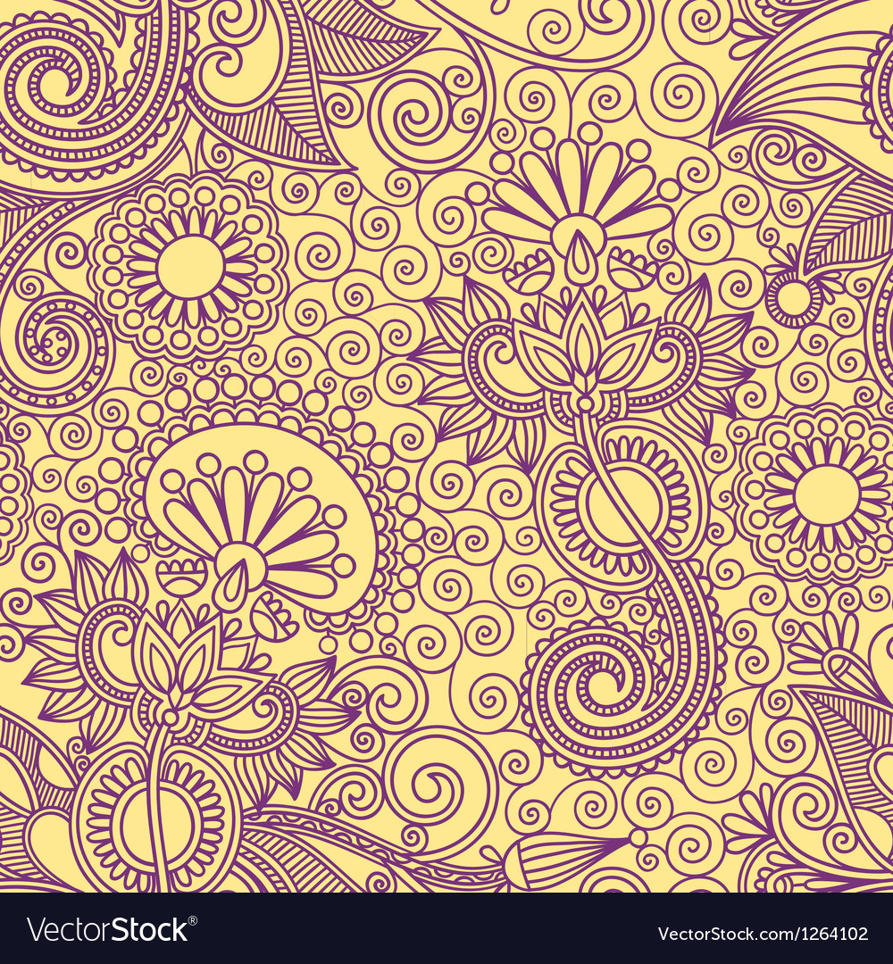 Ornate floral vintage seamless pattern vector | Price: 1 Credit (USD $1)