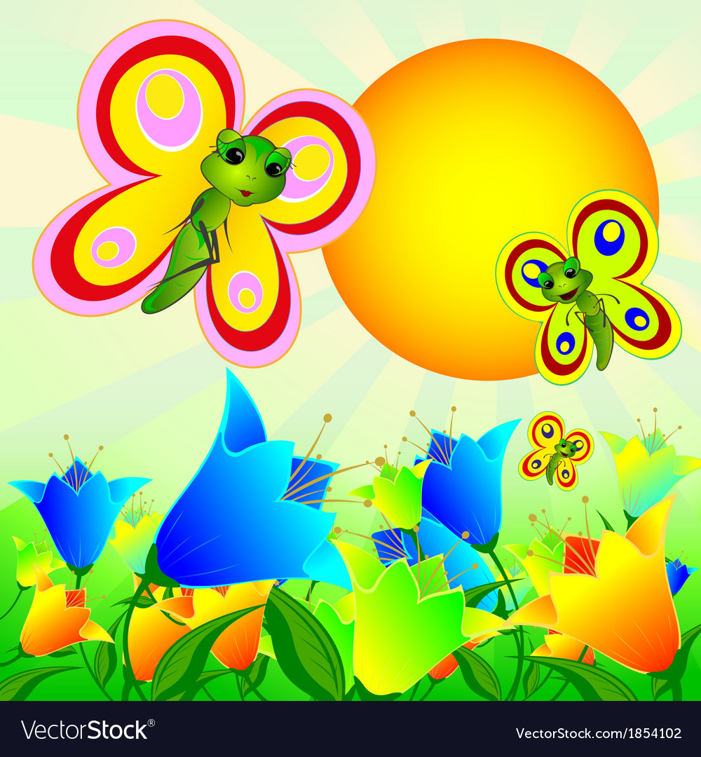 Summer sunny landscape with flowers and butterflie vector | Price: 1 Credit (USD $1)