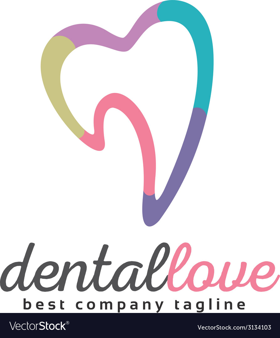 Abstract tooth logo icon similar human heart vector | Price: 1 Credit (USD $1)