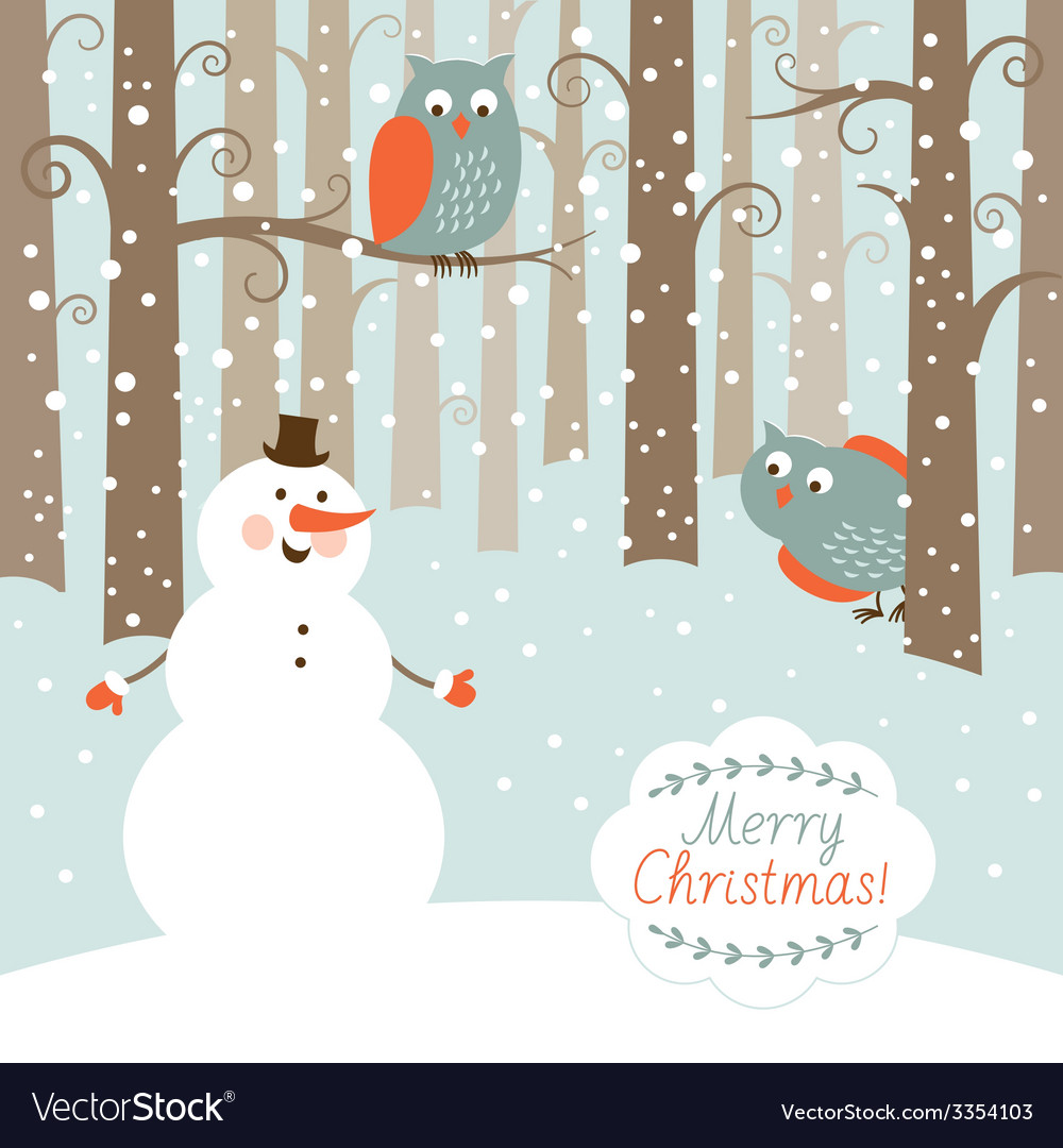 Greeting christmas card snowman in the forest vector | Price: 1 Credit (USD $1)