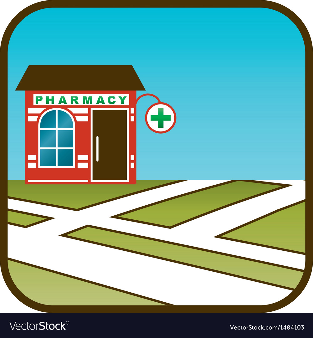Icon of pharmacy with street map vector | Price: 1 Credit (USD $1)