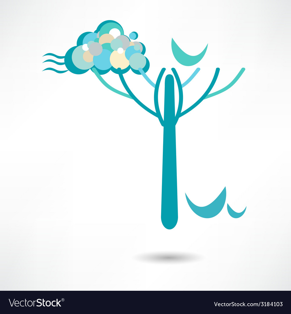 Landscape with clouds and trees vector | Price: 1 Credit (USD $1)