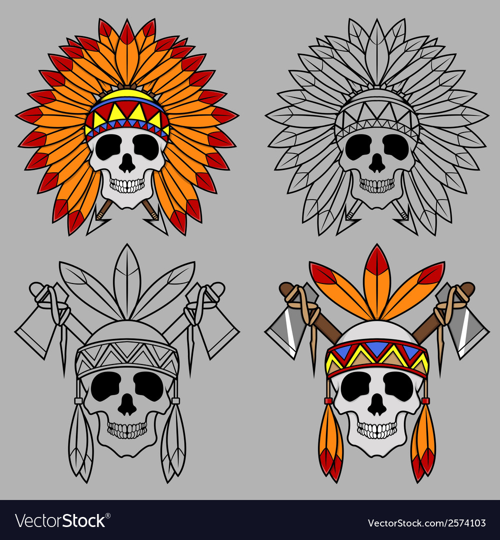 Native america skull mascot vector | Price: 1 Credit (USD $1)