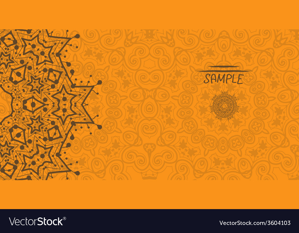 Orange greeting card with tribal ornament flayer vector | Price: 1 Credit (USD $1)