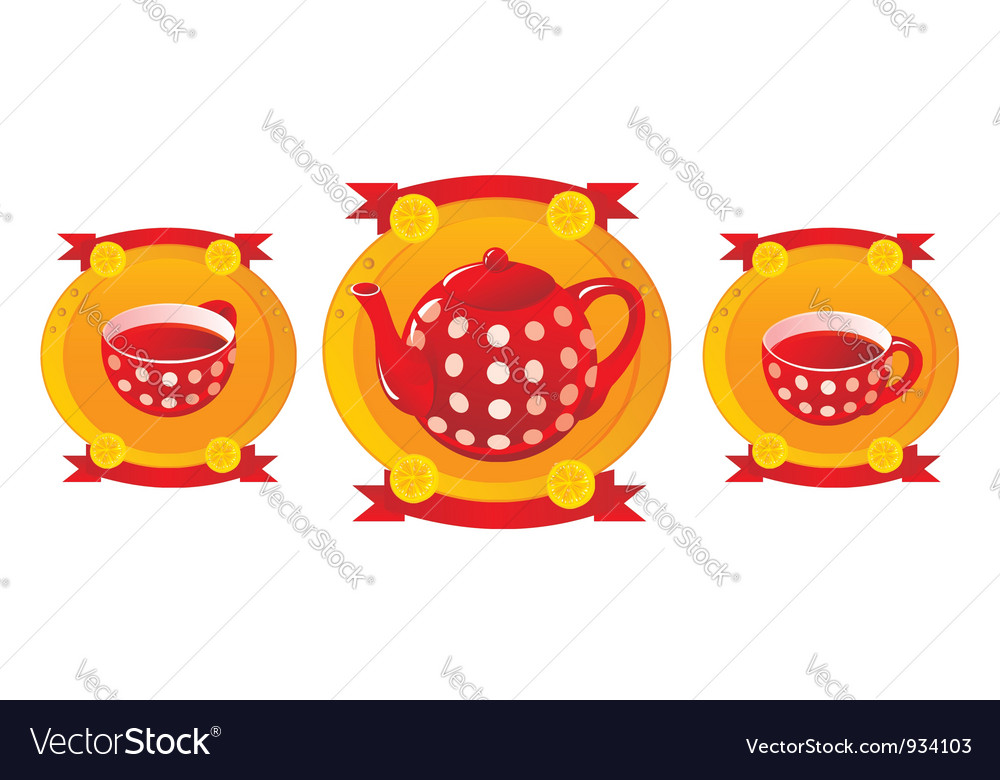 Red tea service vector | Price: 1 Credit (USD $1)