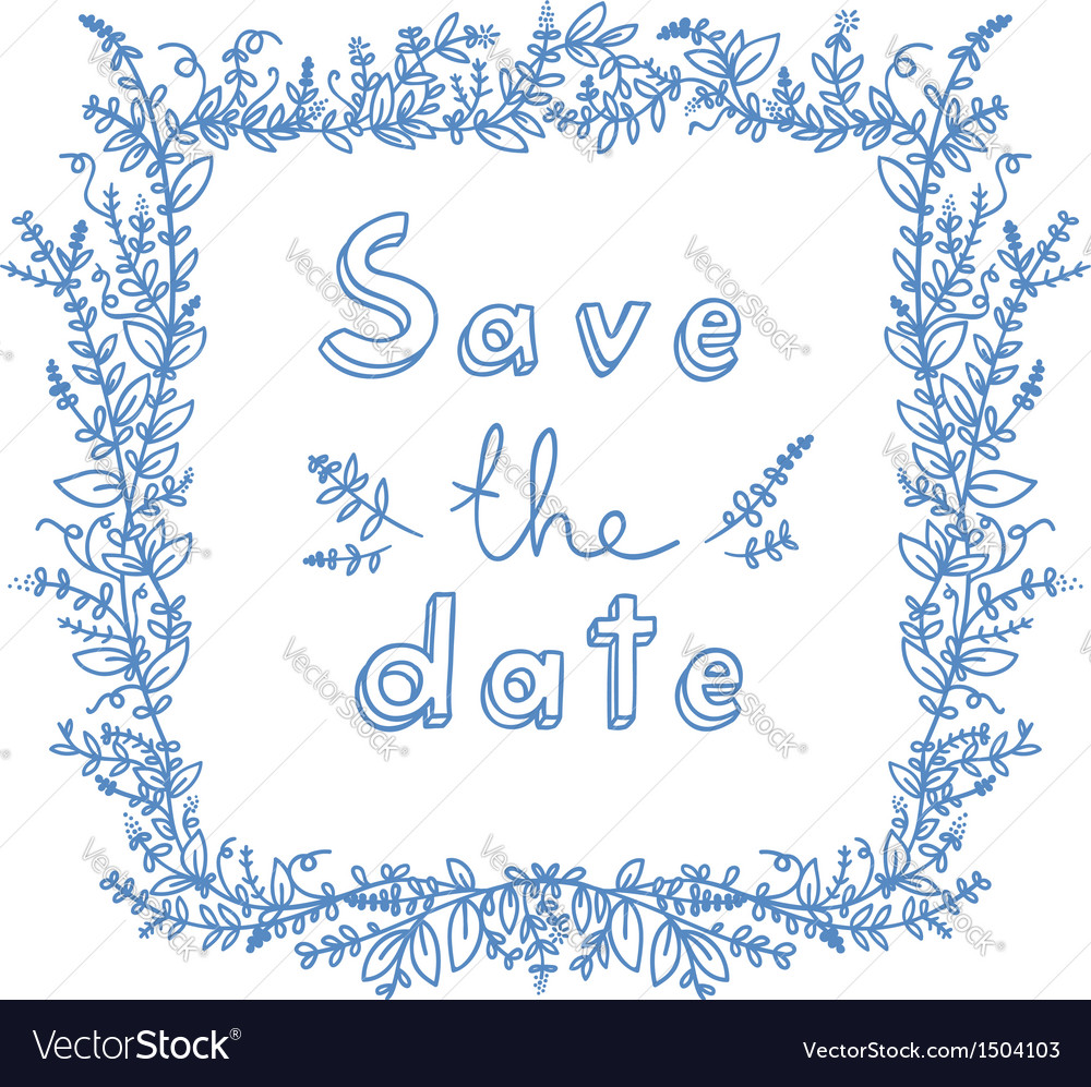 Save the date flower frame vector | Price: 1 Credit (USD $1)