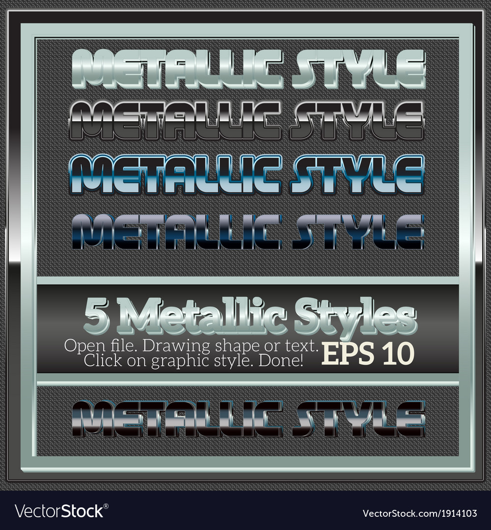 Set of various metallic styles for design vector | Price: 1 Credit (USD $1)