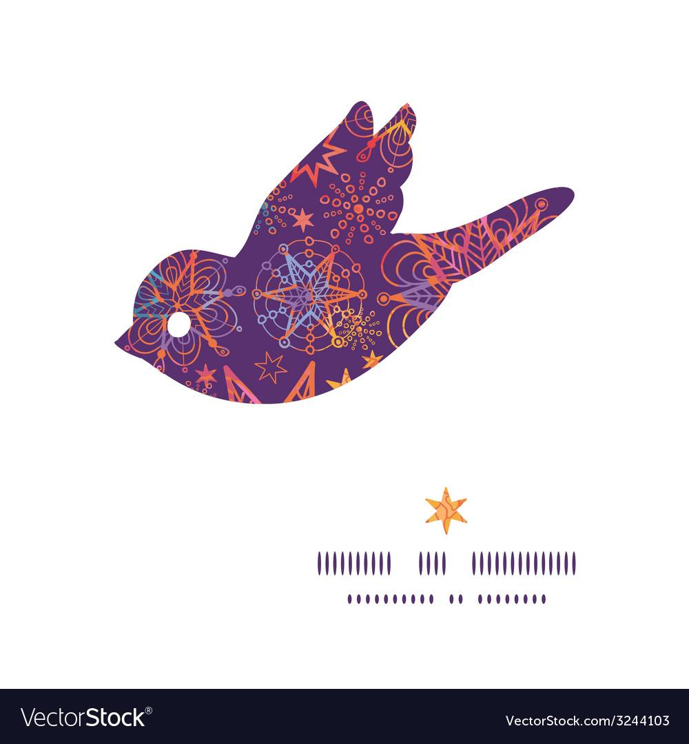 Textured christmas stars bird silhouette pattern vector   Price: 1 Credit (USD $1)