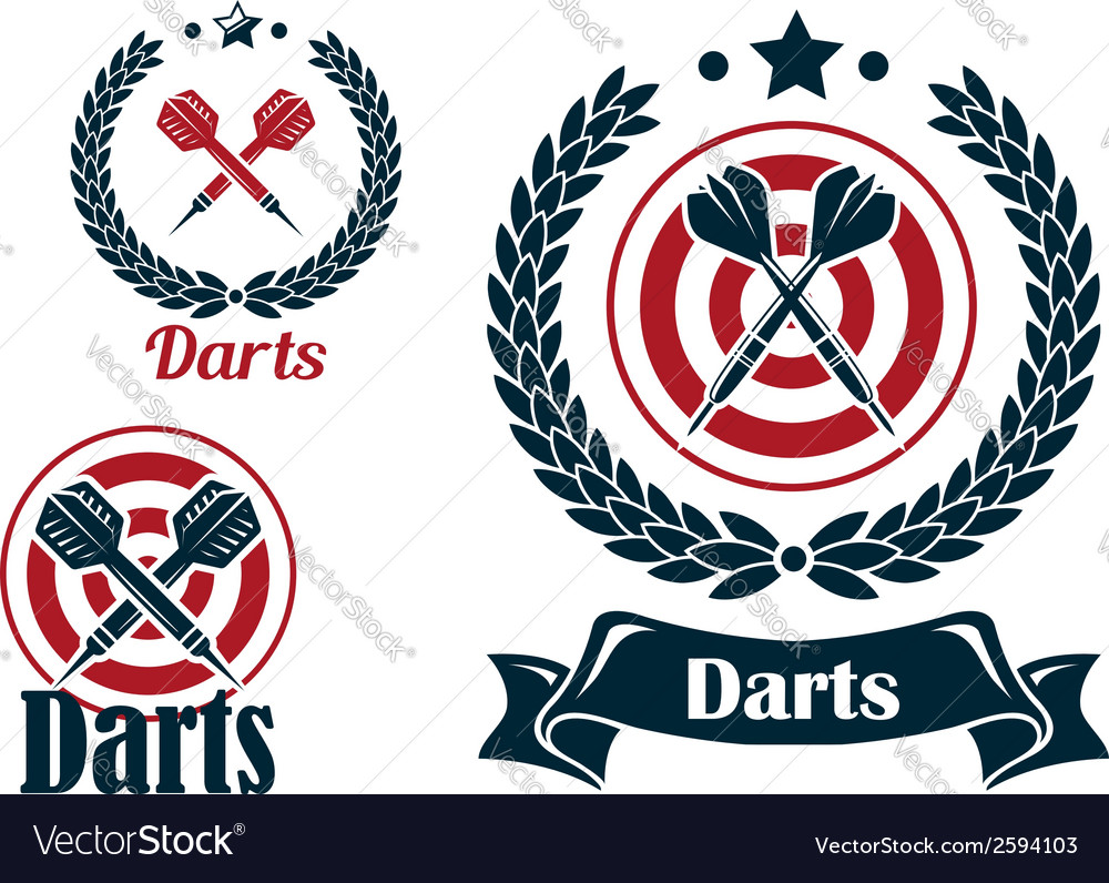Three different darts emblems or badges vector | Price: 1 Credit (USD $1)