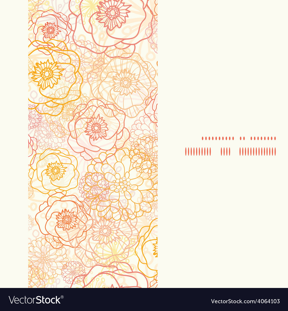 Warm flowers vertical frame seamless vector | Price: 1 Credit (USD $1)