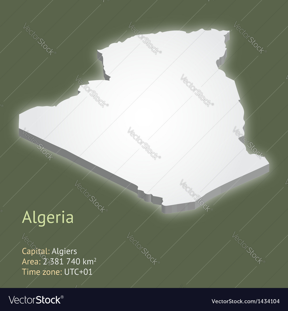 3d map of algeria vector | Price: 1 Credit (USD $1)