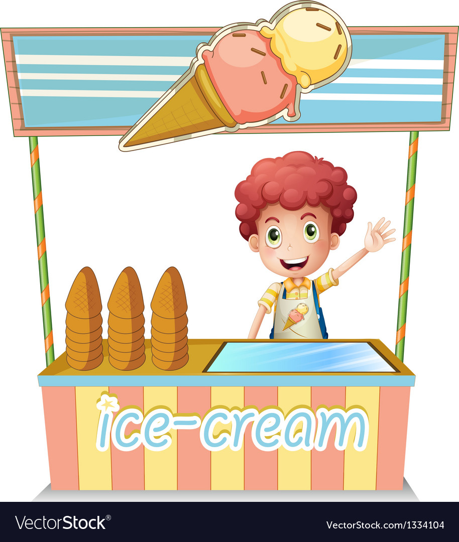 A boy selling ice cream vector | Price: 1 Credit (USD $1)