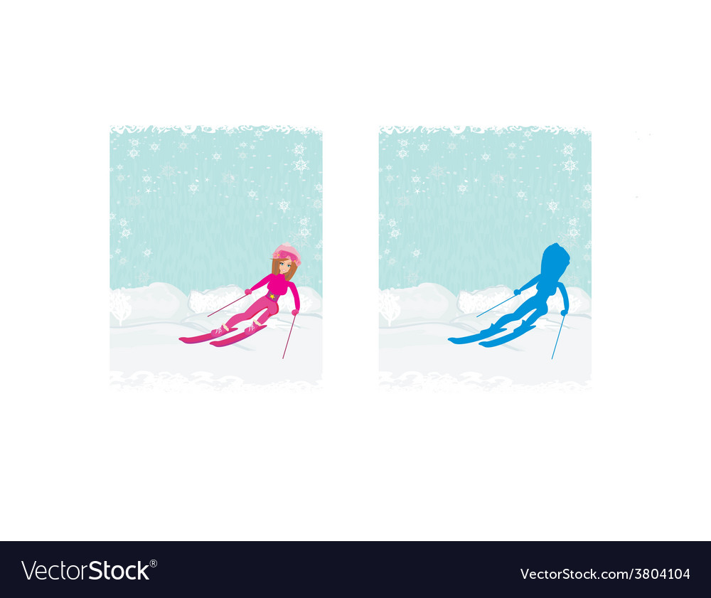 A young woman skiing down a snow covered mounta vector | Price: 1 Credit (USD $1)