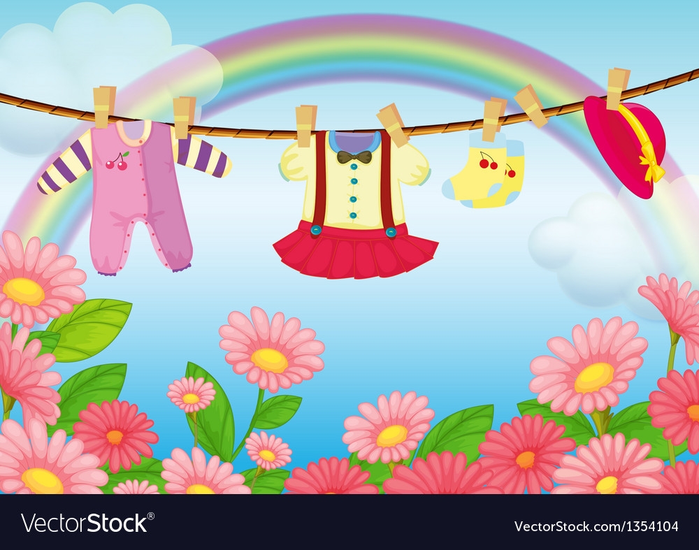 Baby clothes hanging vector | Price: 1 Credit (USD $1)