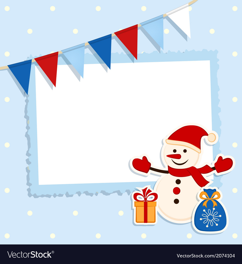 Christmas card with festive flags and snowman vector | Price: 1 Credit (USD $1)