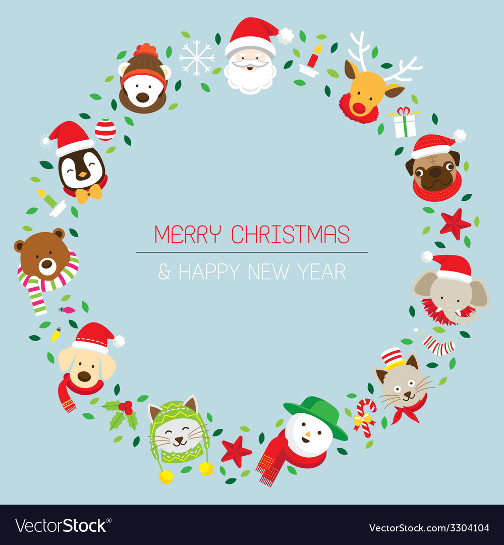 Christmas santa and animals vector | Price: 1 Credit (USD $1)
