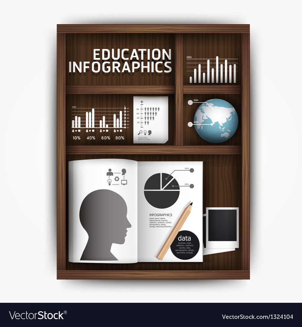Creative infographics education shelf book box con vector | Price: 1 Credit (USD $1)
