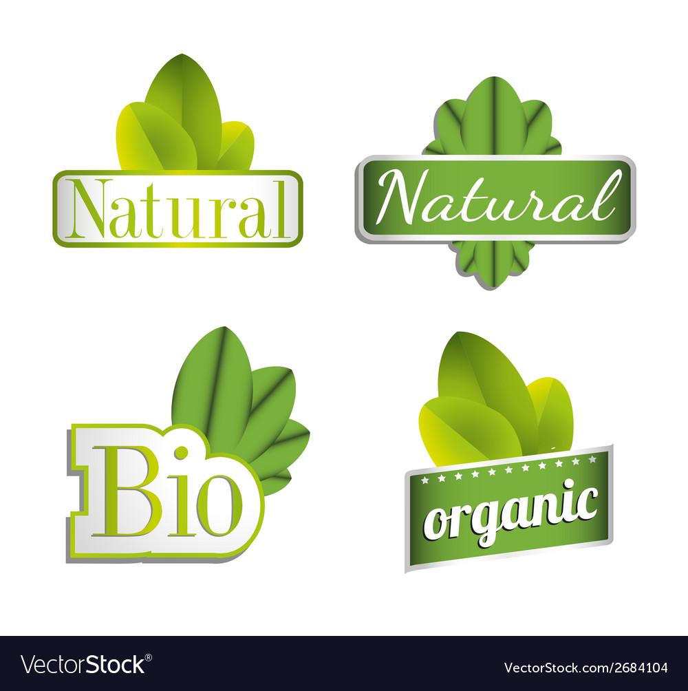 Eco bio natural organic icon set vector | Price: 1 Credit (USD $1)