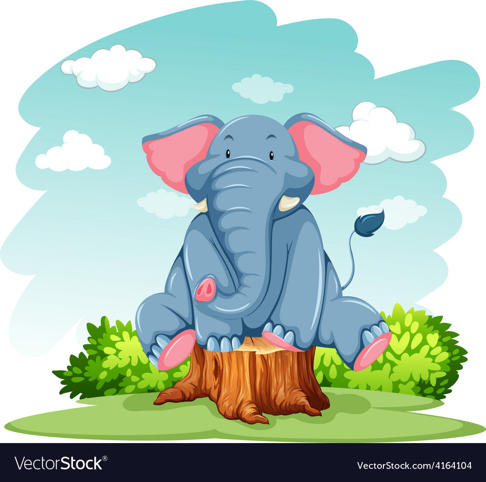Elephant above the trunk vector | Price: 3 Credit (USD $3)
