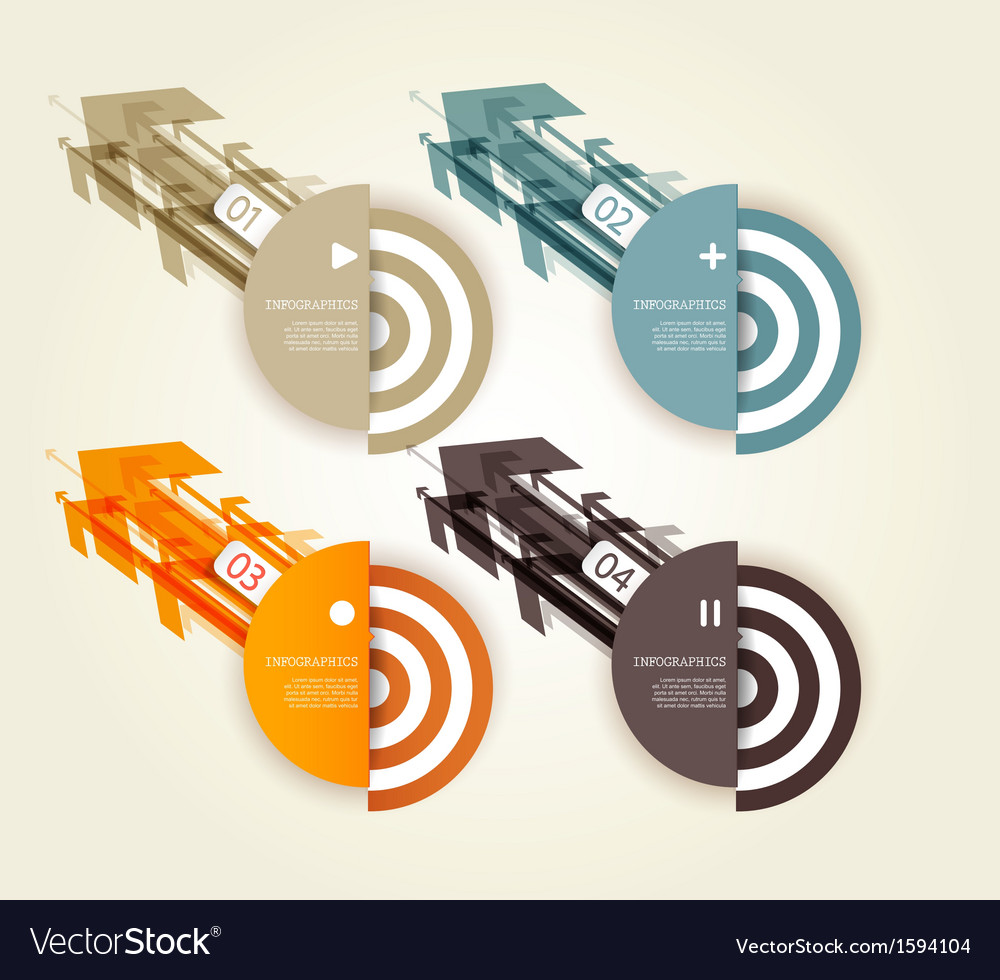 Four colored paper arrows with place for your own vector | Price: 1 Credit (USD $1)