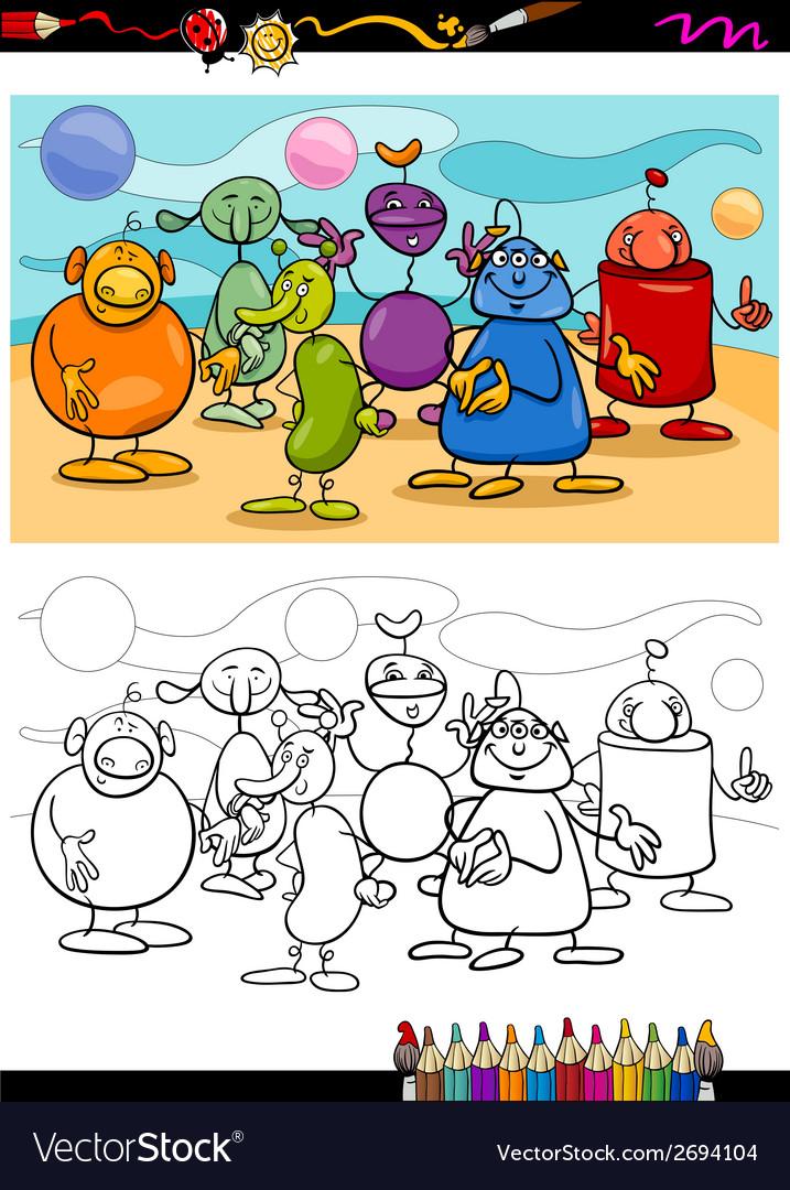 Funny aliens cartoon coloring book vector | Price: 1 Credit (USD $1)