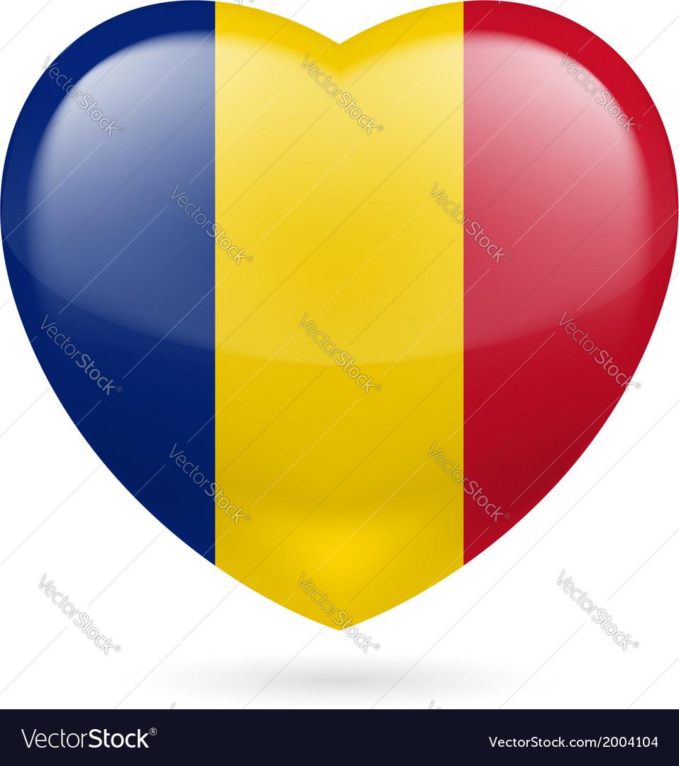Heart icon of romania vector | Price: 1 Credit (USD $1)