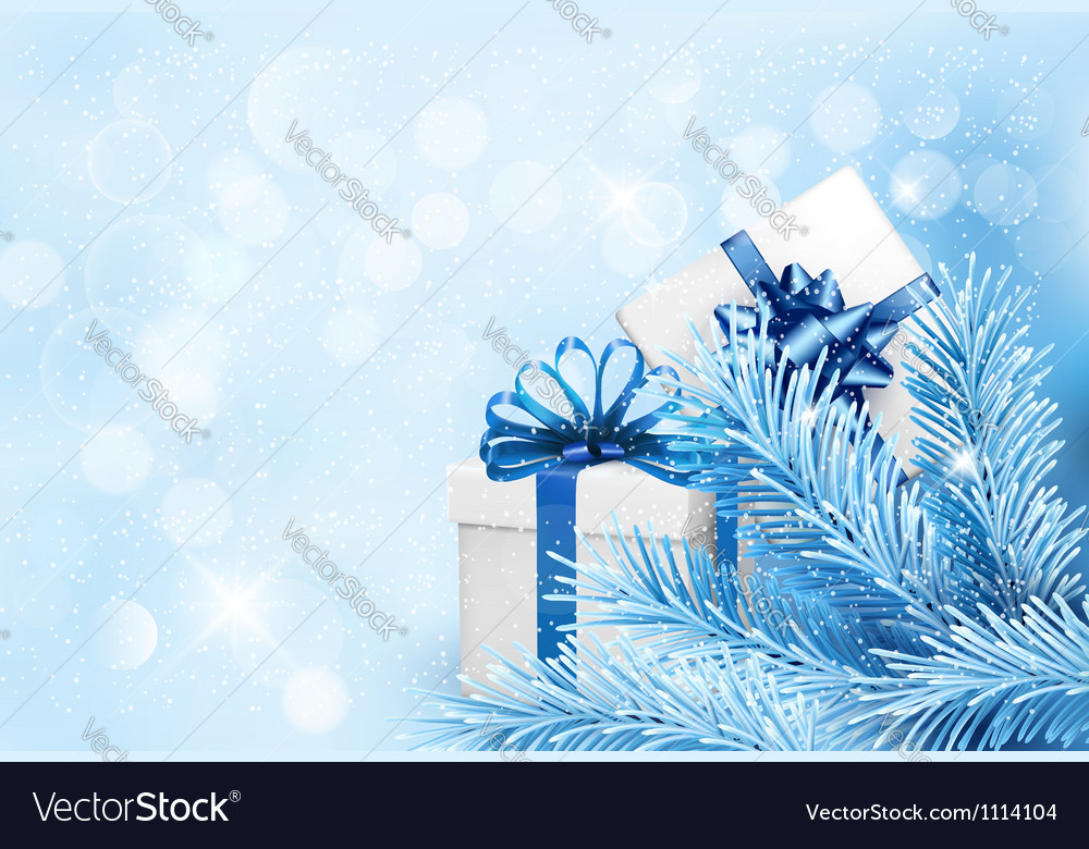 Holiday blue background with gift boxes and tree vector | Price: 1 Credit (USD $1)