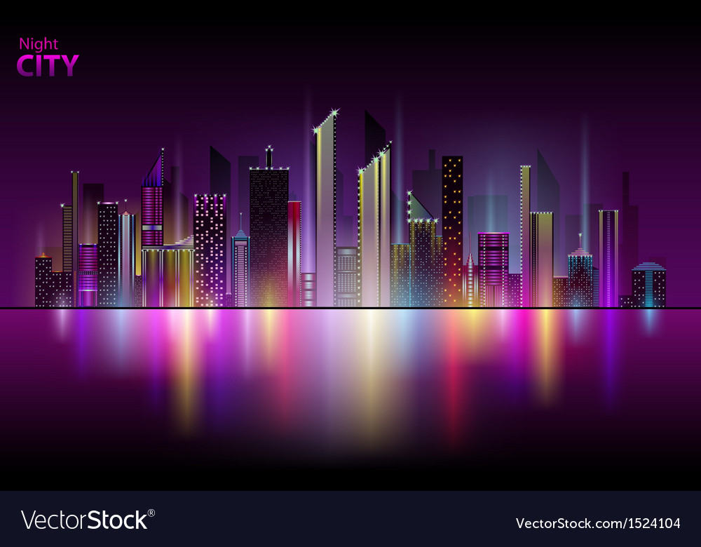 Night city vector | Price: 1 Credit (USD $1)