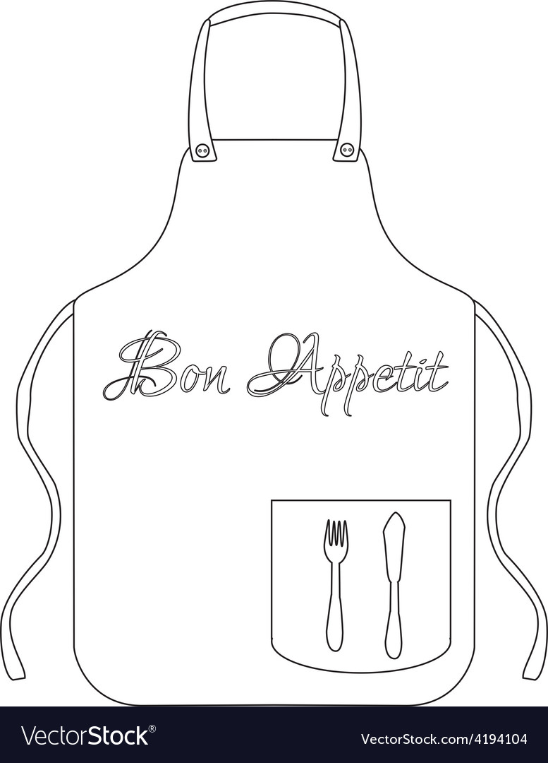 Outline drawings kitchen apron vector | Price: 1 Credit (USD $1)