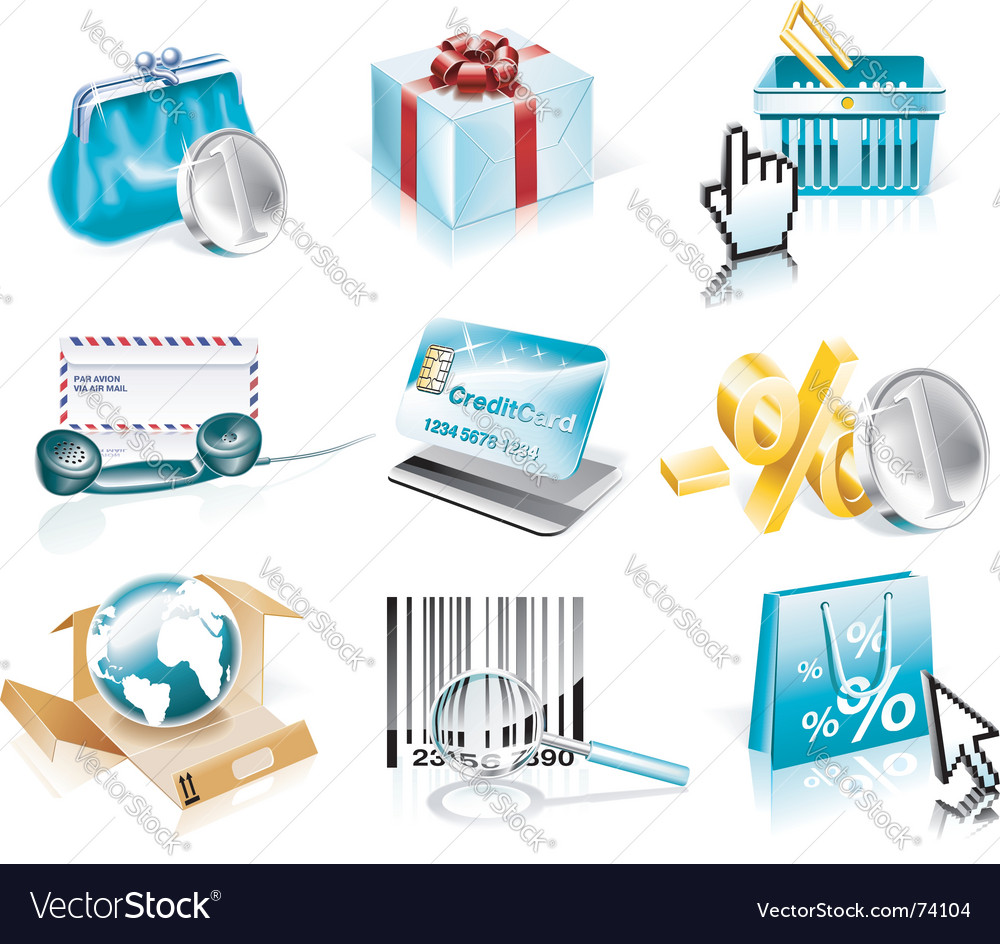 Shopping and consumerism icon set vector | Price: 3 Credit (USD $3)