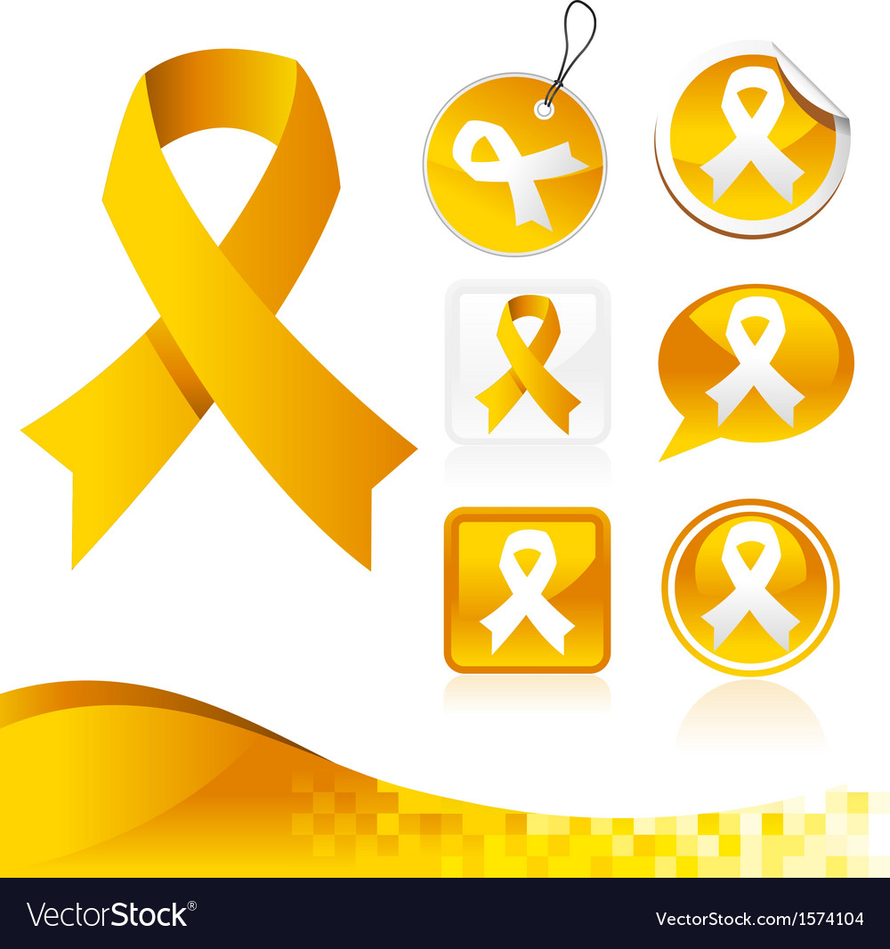 Yellow awareness ribbons kit vector | Price: 1 Credit (USD $1)