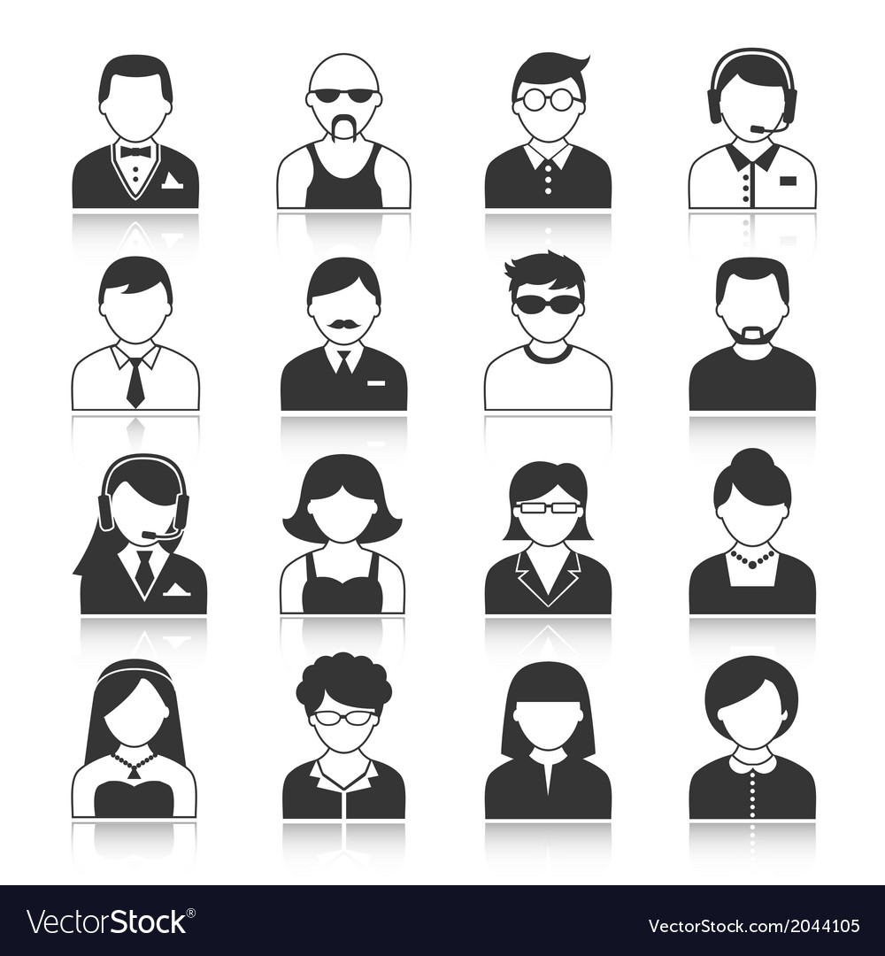 Avatar characters icons set vector | Price: 1 Credit (USD $1)