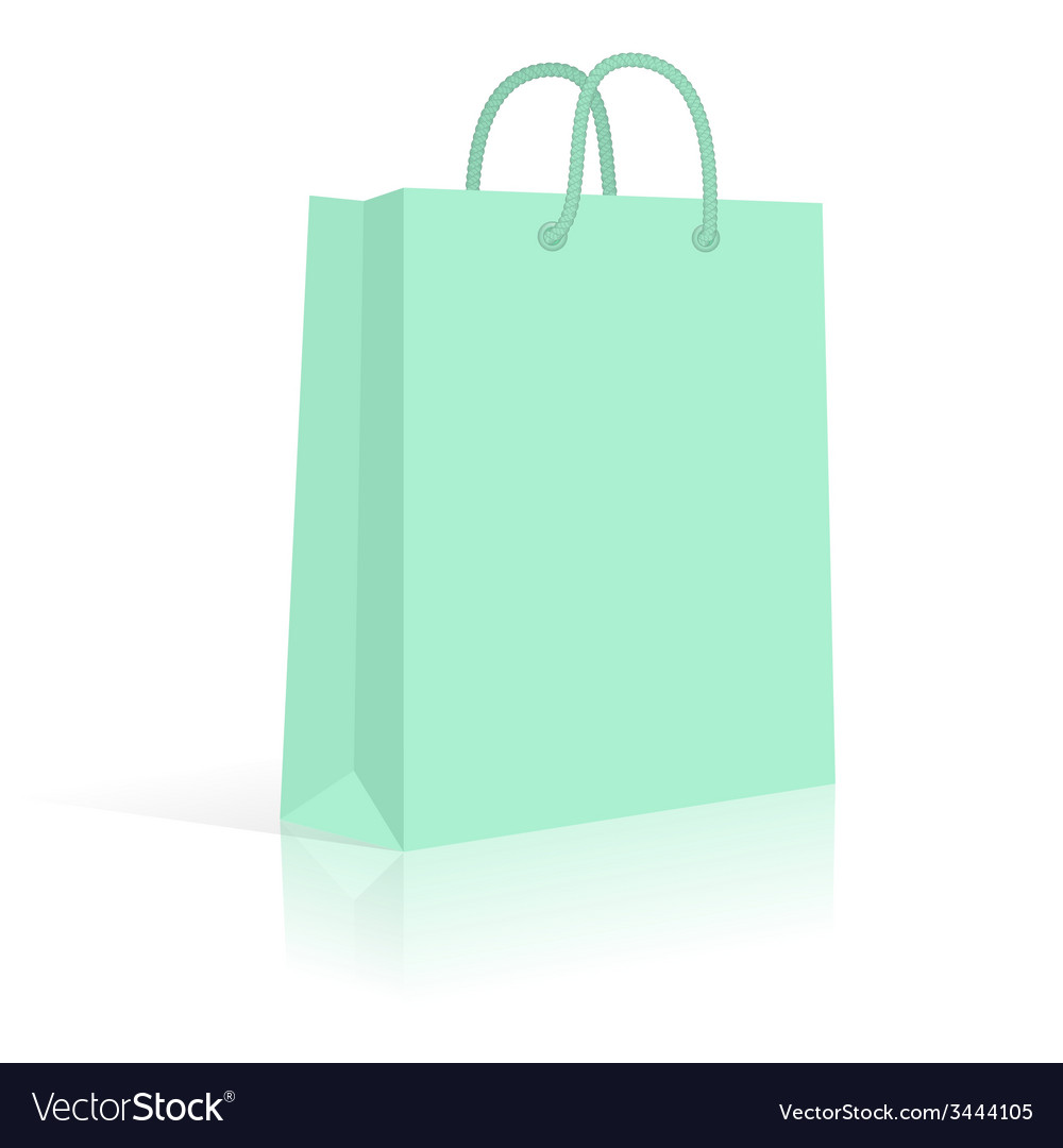 Blank paper shopping bag with rope handles mint vector | Price: 1 Credit (USD $1)