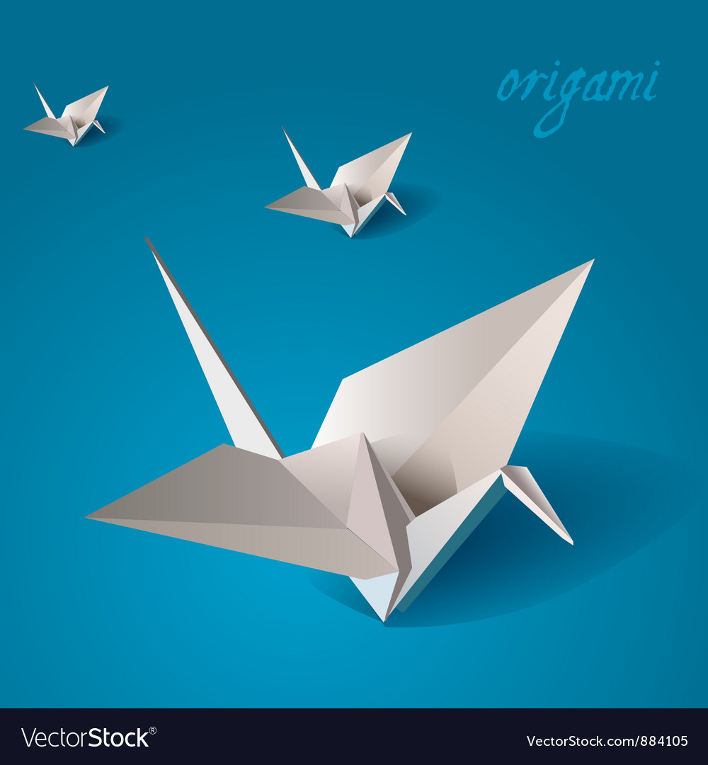 Crane bird origami vector | Price: 1 Credit (USD $1)