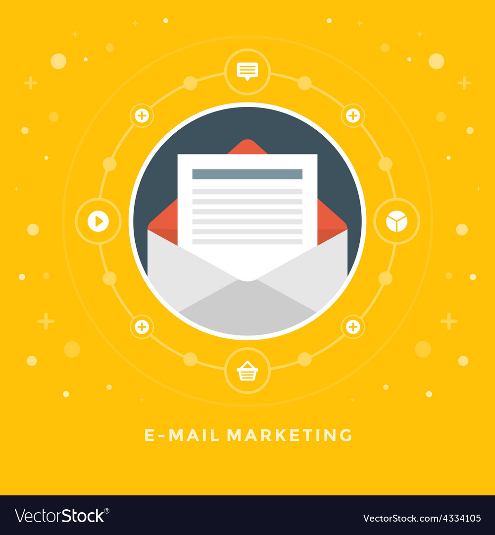 Flat design business concept e-mail marketin vector | Price: 1 Credit (USD $1)