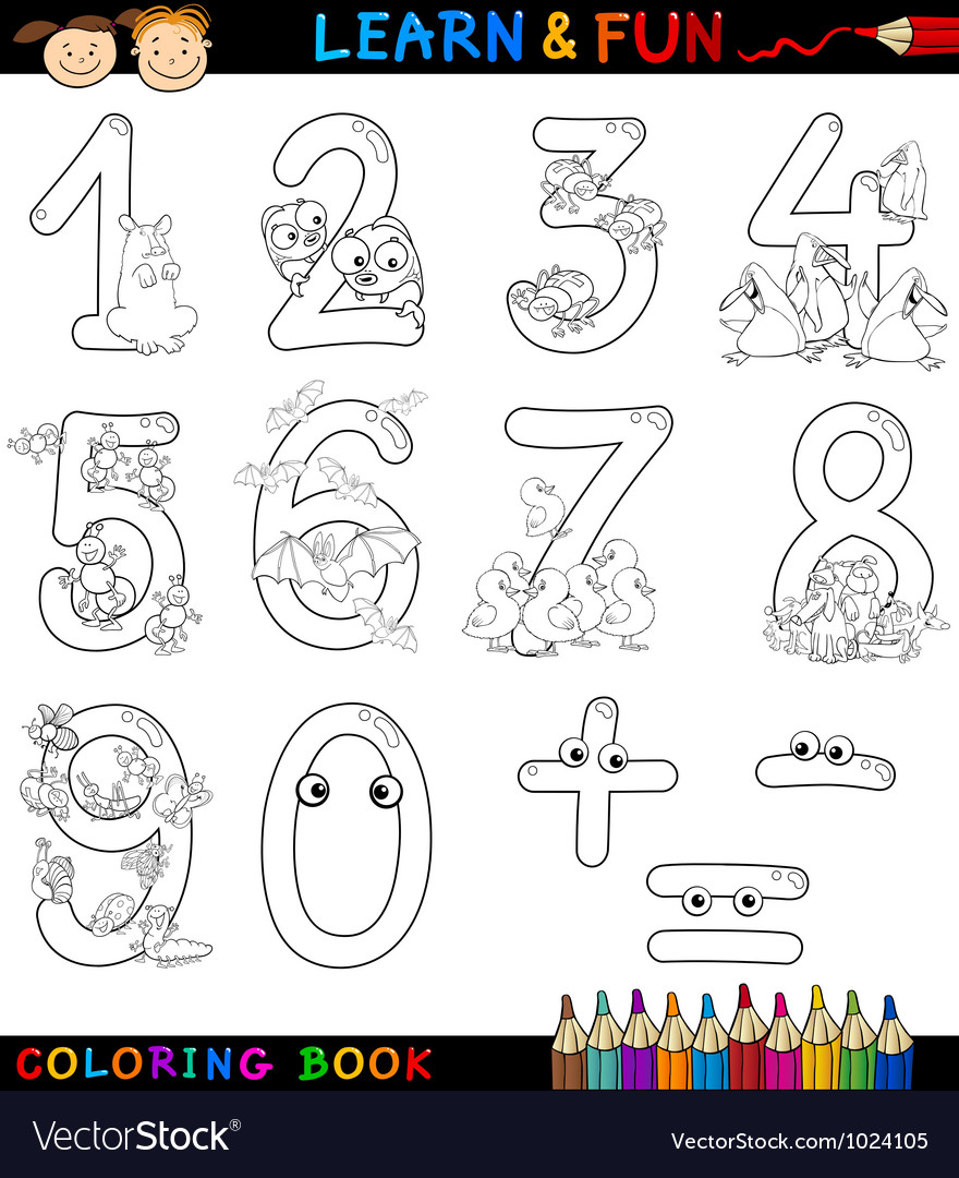 Numbers with cartoon animals for coloring vector | Price: 1 Credit (USD $1)