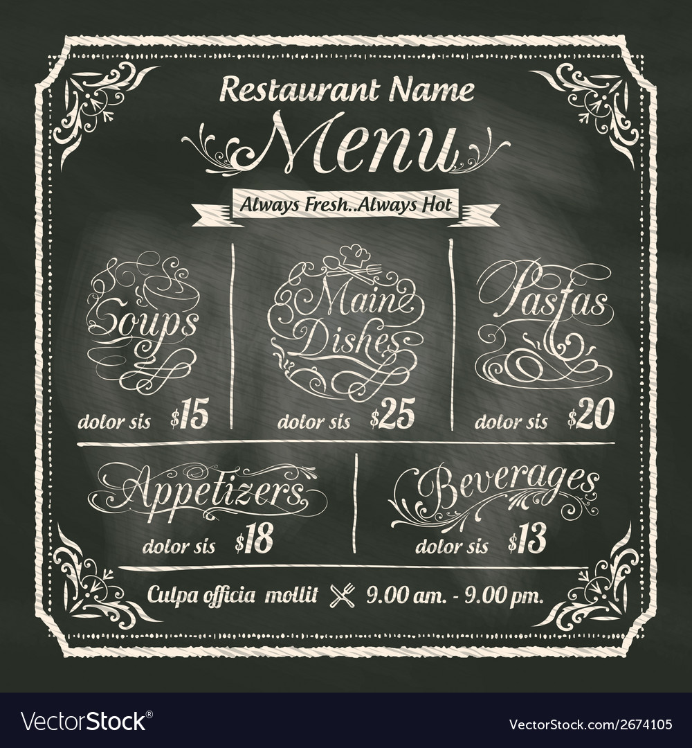 Restaurant food menu design chalkboard background vector | Price: 1 Credit (USD $1)