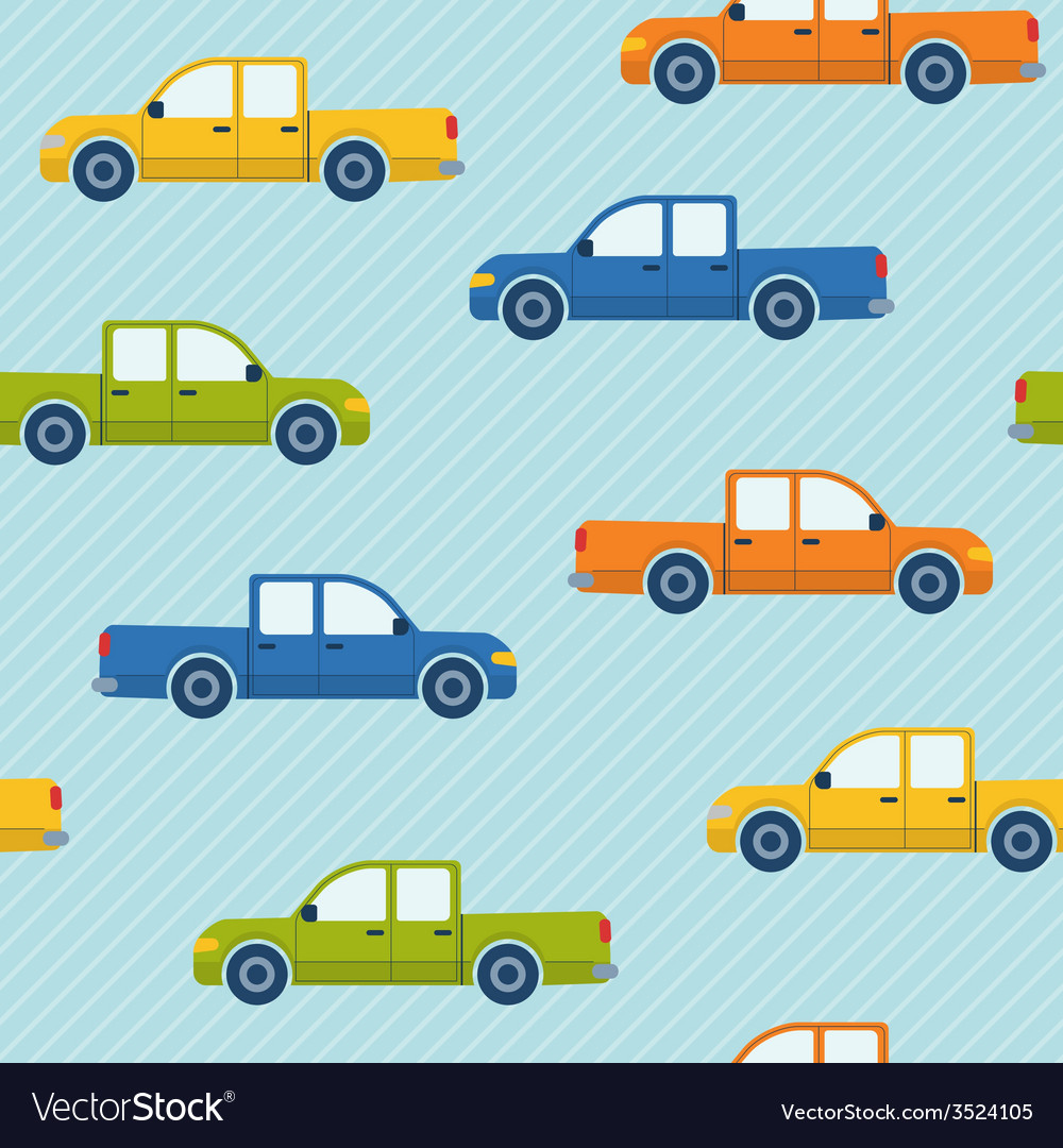 Seamless pattern with pickup cars vector | Price: 1 Credit (USD $1)