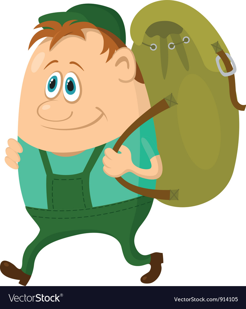 Tourist with backpack vector | Price: 3 Credit (USD $3)