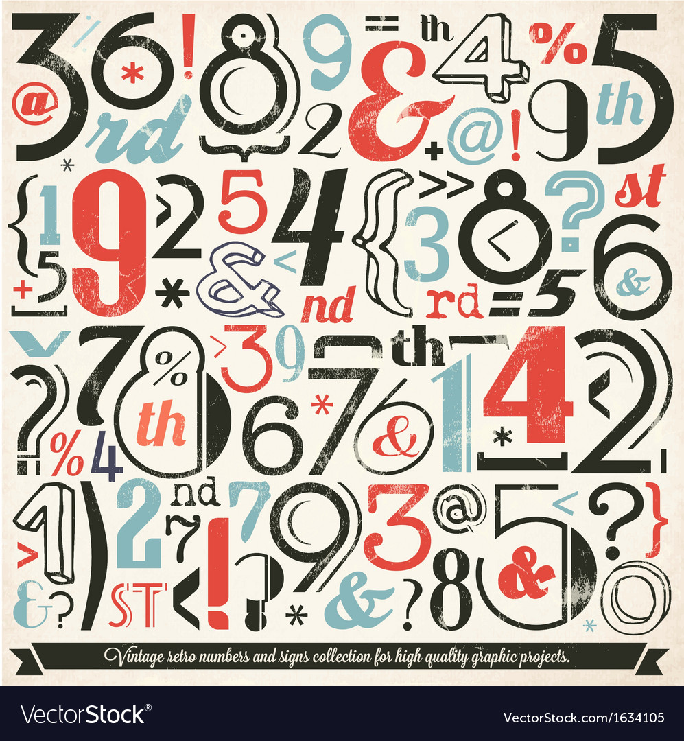 Various retro vintage number and typography vector | Price: 1 Credit (USD $1)
